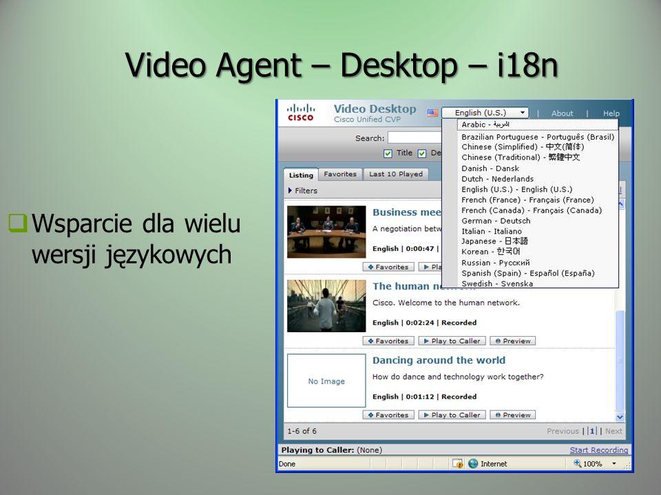 Video Agent – Desktop – i18n Wsparcie dla wielu wersji językowych