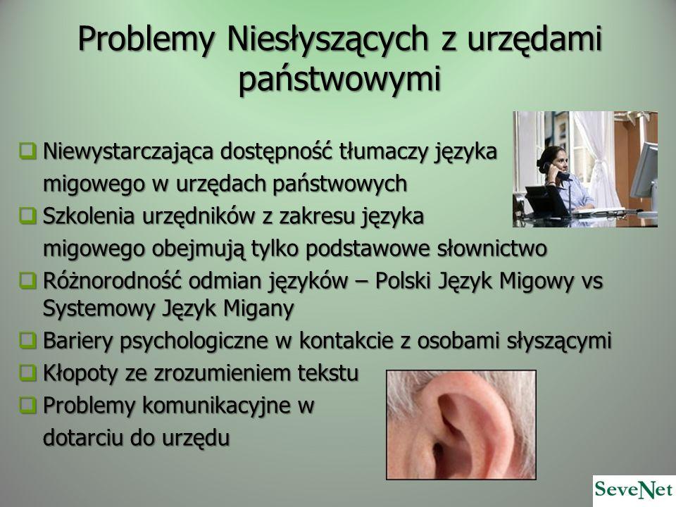 Problemy Niesłyszących z urzędami państwowymi Niewystarczająca dostępność tłumaczy języka Niewystarczająca dostępność tłumaczy języka migowego w urzęd