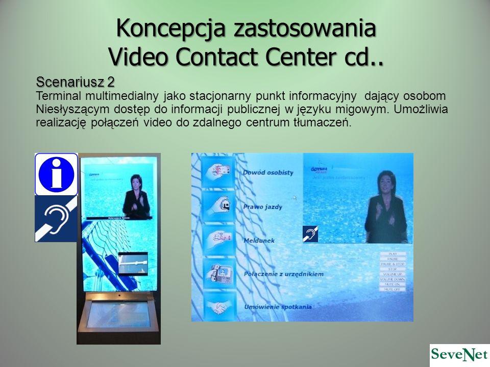 Koncepcja zastosowania Video Contact Center cd.. Scenariusz 2 Terminal multimedialny jako stacjonarny punkt informacyjny dający osobom Niesłyszącym do