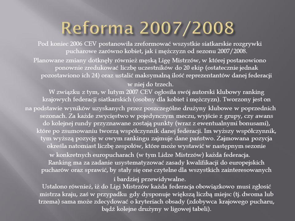 Pod koniec 2006 CEV postanowiła zreformować wszystkie siatkarskie rozgrywki pucharowe zarówno kobiet, jak i mężczyzn od sezonu 2007/2008. Planowane zm