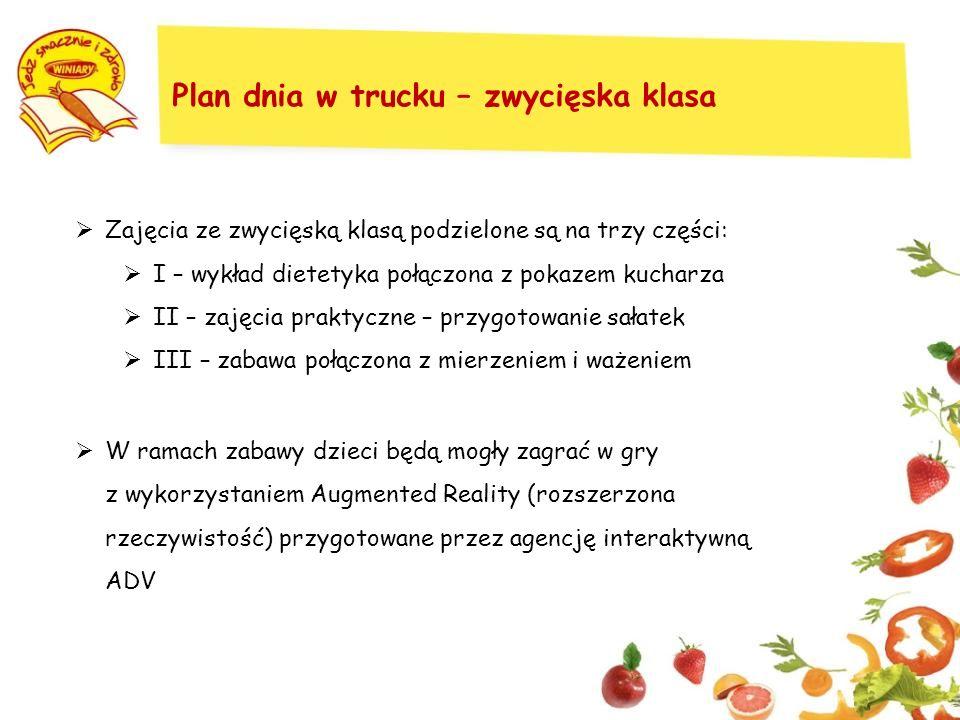 Plan dnia w trucku – zwycięska klasa Zajęcia ze zwycięską klasą podzielone są na trzy części: I – wykład dietetyka połączona z pokazem kucharza II – zajęcia praktyczne – przygotowanie sałatek III – zabawa połączona z mierzeniem i ważeniem W ramach zabawy dzieci będą mogły zagrać w gry z wykorzystaniem Augmented Reality (rozszerzona rzeczywistość) przygotowane przez agencję interaktywną ADV