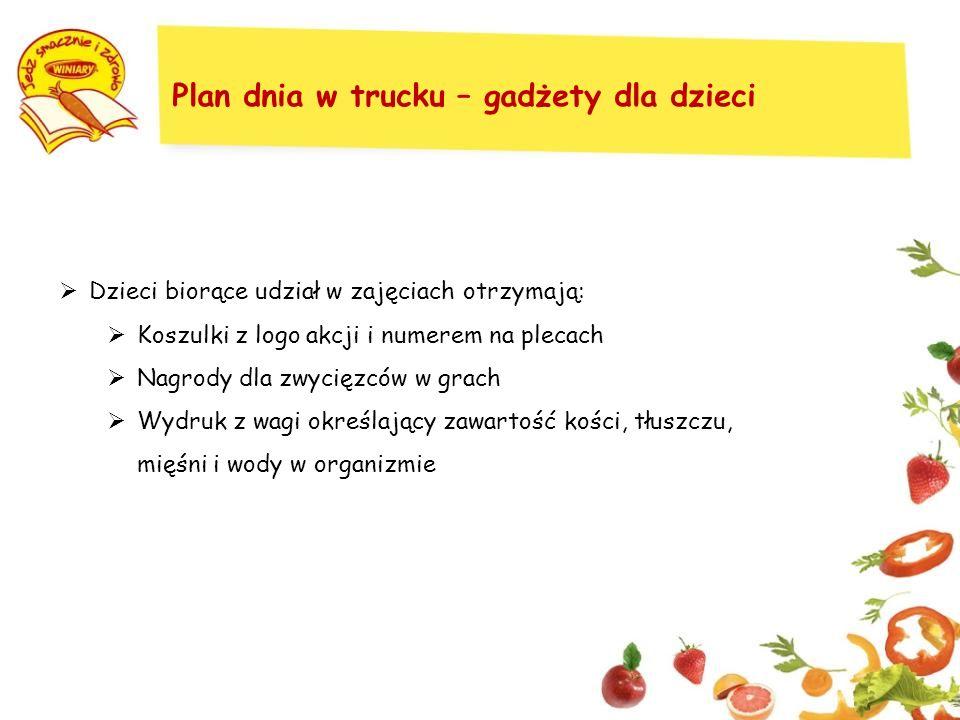 Plan dnia w trucku – gadżety dla dzieci Dzieci biorące udział w zajęciach otrzymają: Koszulki z logo akcji i numerem na plecach Nagrody dla zwycięzców w grach Wydruk z wagi określający zawartość kości, tłuszczu, mięśni i wody w organizmie