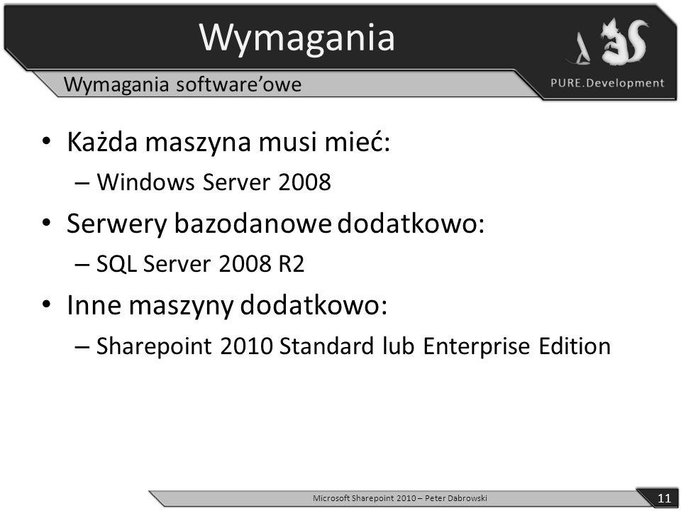Wymagania Każda maszyna musi mieć: – Windows Server 2008 Serwery bazodanowe dodatkowo: – SQL Server 2008 R2 Inne maszyny dodatkowo: – Sharepoint 2010
