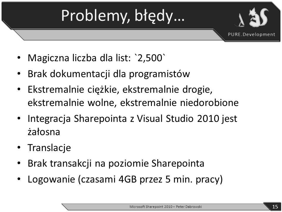 Problemy, błędy… Magiczna liczba dla list: `2,500` Brak dokumentacji dla programistów Ekstremalnie ciężkie, ekstremalnie drogie, ekstremalnie wolne, e
