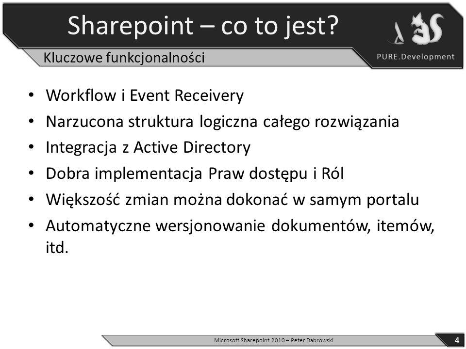 Sharepoint – co to jest? Workflow i Event Receivery Narzucona struktura logiczna całego rozwiązania Integracja z Active Directory Dobra implementacja