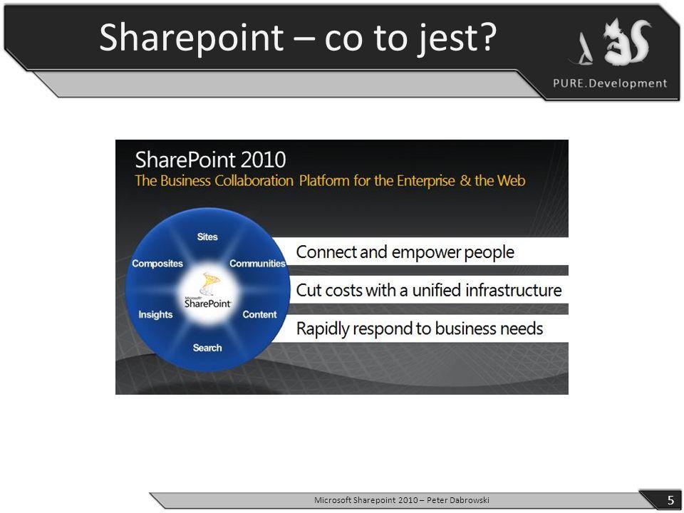 Sharepoint – co to jest? 5 Microsoft Sharepoint 2010 – Peter Dabrowski