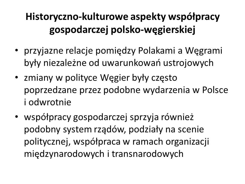 Historyczno-kulturowe aspekty współpracy gospodarczej polsko-węgierskiej przyjazne relacje pomiędzy Polakami a Węgrami były niezależne od uwarunkowań ustrojowych zmiany w polityce Węgier były często poprzedzane przez podobne wydarzenia w Polsce i odwrotnie współpracy gospodarczej sprzyja również podobny system rządów, podziały na scenie politycznej, współpraca w ramach organizacji międzynarodowych i transnarodowych