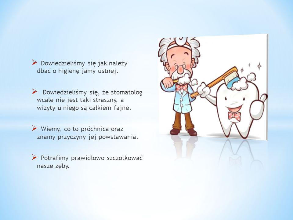Dowiedzieliśmy się jak należy dbać o higienę jamy ustnej. Dowiedzieliśmy się, że stomatolog wcale nie jest taki straszny, a wizyty u niego są całkiem