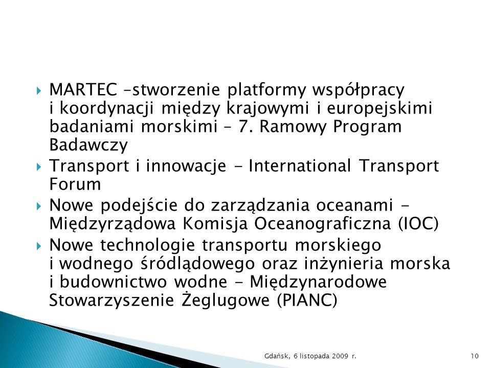 MARTEC –stworzenie platformy współpracy i koordynacji między krajowymi i europejskimi badaniami morskimi – 7. Ramowy Program Badawczy Transport i inno