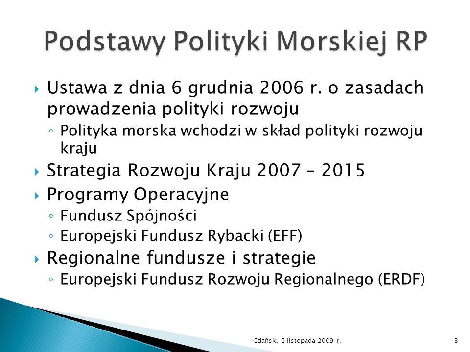 Ustawa z dnia 6 grudnia 2006 r. o zasadach prowadzenia polityki rozwoju Polityka morska wchodzi w skład polityki rozwoju kraju Strategia Rozwoju Kraju