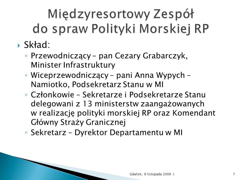 Skład: Przewodniczący – pan Cezary Grabarczyk, Minister Infrastruktury Wiceprzewodniczący – pani Anna Wypych – Namiotko, Podsekretarz Stanu w MI Człon