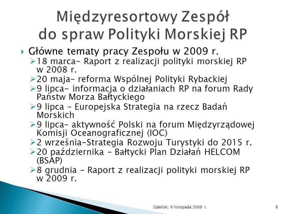 Główne tematy pracy Zespołu w 2009 r. 18 marca- Raport z realizacji polityki morskiej RP w 2008 r. 20 maja– reforma Wspólnej Polityki Rybackiej 9 lipc