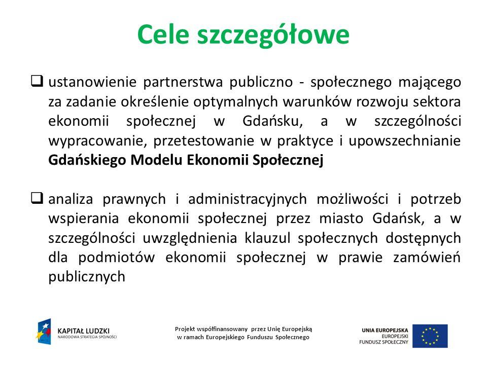 Cele szczegółowe Projekt współfinansowany przez Unię Europejską w ramach Europejskiego Funduszu Społecznego ustanowienie partnerstwa publiczno - społe