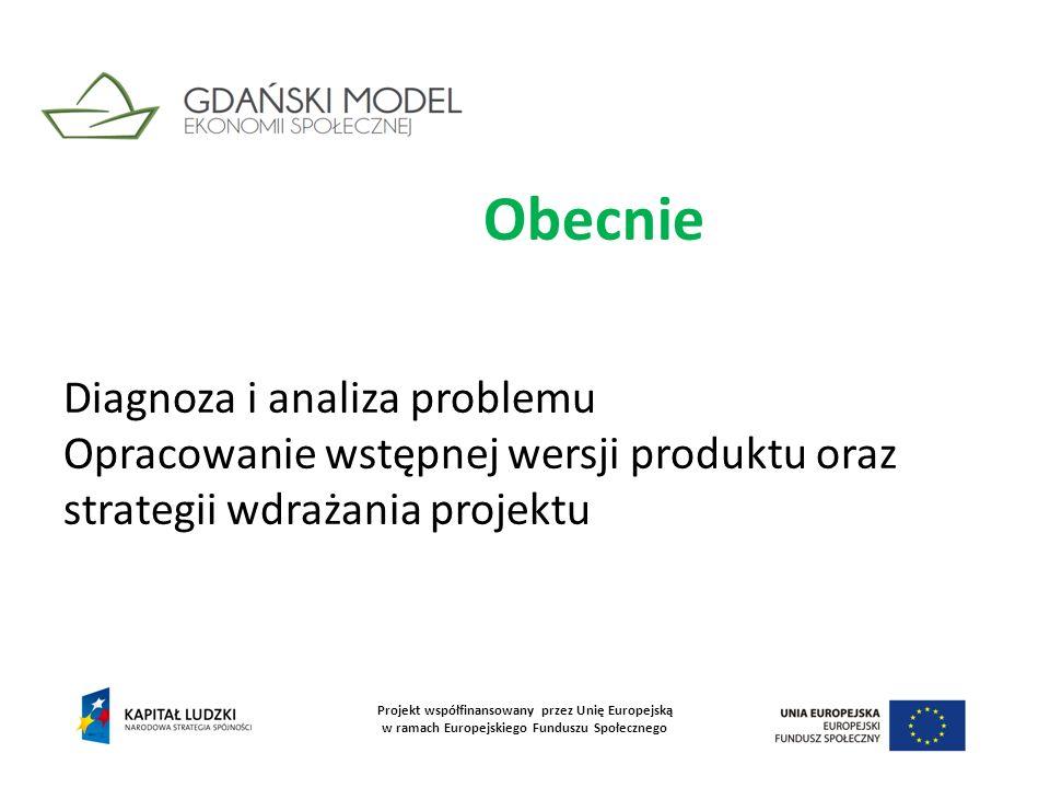 Obecnie Diagnoza i analiza problemu Opracowanie wstępnej wersji produktu oraz strategii wdrażania projektu Projekt współfinansowany przez Unię Europej