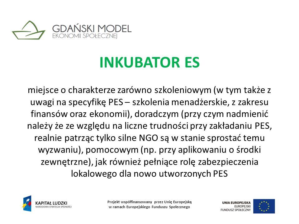 INKUBATOR ES miejsce o charakterze zarówno szkoleniowym (w tym także z uwagi na specyfikę PES – szkolenia menadżerskie, z zakresu finansów oraz ekonom