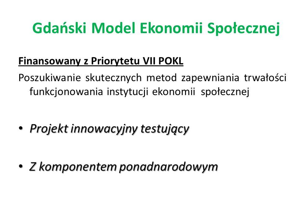 Gdański Model Ekonomii Społecznej Finansowany z Priorytetu VII POKL Poszukiwanie skutecznych metod zapewniania trwałości funkcjonowania instytucji eko