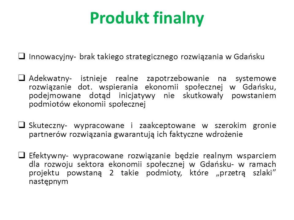 Produkt finalny Innowacyjny- brak takiego strategicznego rozwiązania w Gdańsku Adekwatny- istnieje realne zapotrzebowanie na systemowe rozwiązanie dot