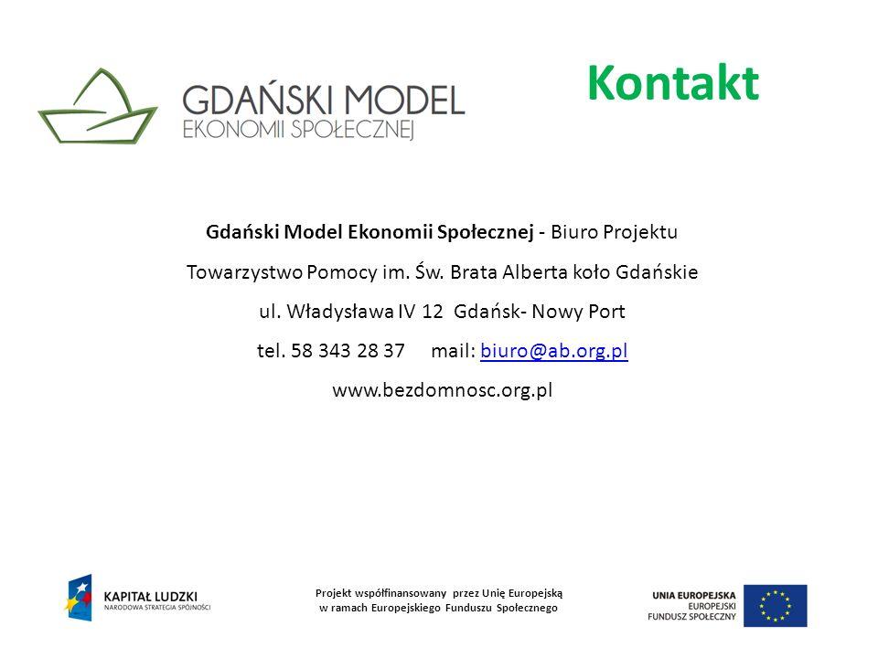 Kontakt Projekt współfinansowany przez Unię Europejską w ramach Europejskiego Funduszu Społecznego Gdański Model Ekonomii Społecznej - Biuro Projektu