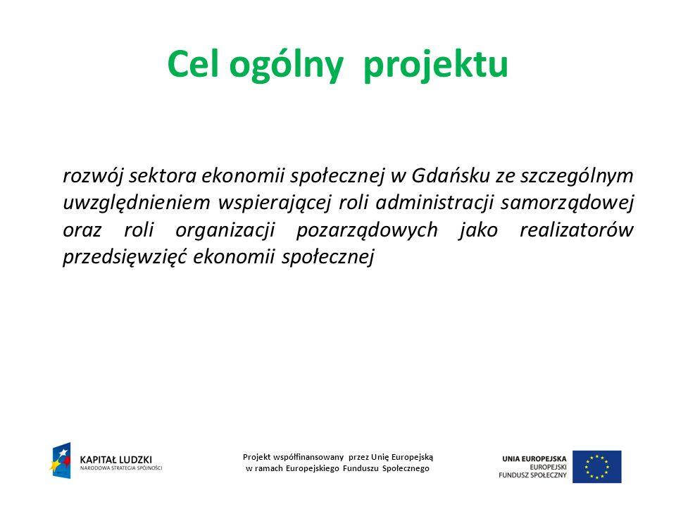 Cel ogólny projektu Projekt współfinansowany przez Unię Europejską w ramach Europejskiego Funduszu Społecznego rozwój sektora ekonomii społecznej w Gd