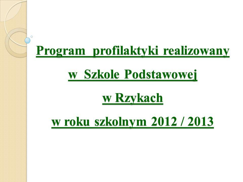 Program profilaktyki realizowany w Szkole Podstawowej w Rzykach w roku szkolnym 2012 / 2013