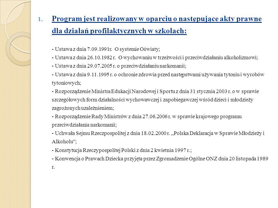 1. Program jest realizowany w oparciu o następujące akty prawne dla działań profilaktycznych w szkołach: - Ustawa z dnia 7.09.1991r. O systemie Oświat