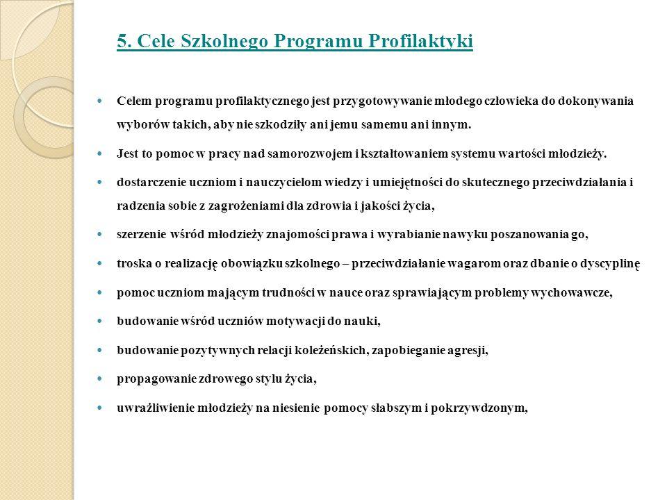 5. Cele Szkolnego Programu Profilaktyki Celem programu profilaktycznego jest przygotowywanie młodego człowieka do dokonywania wyborów takich, aby nie