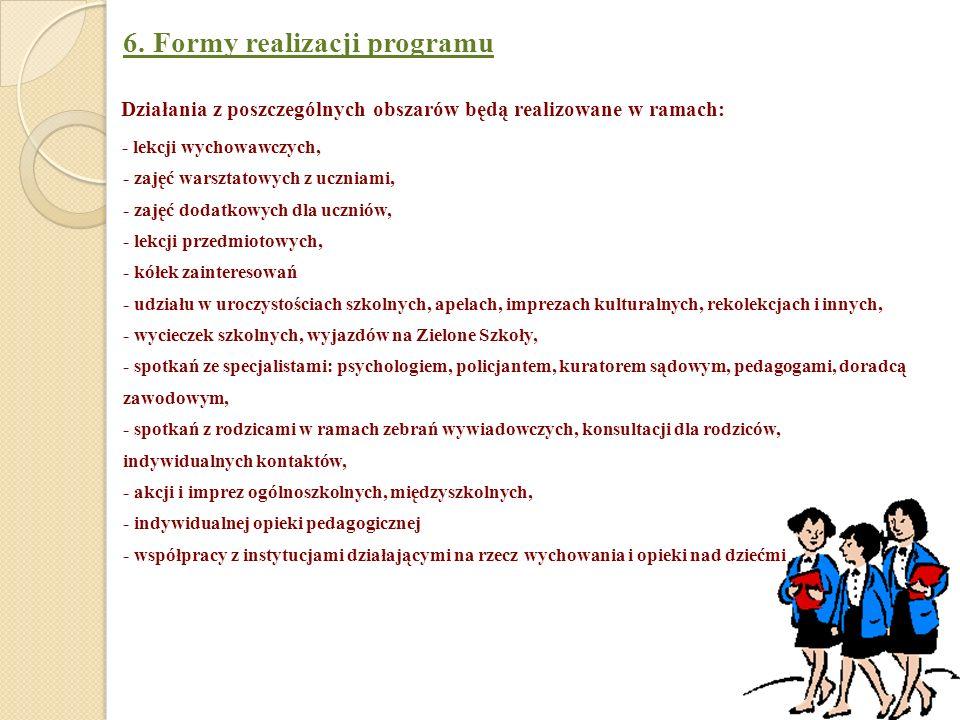 6. Formy realizacji programu Działania z poszczególnych obszarów będą realizowane w ramach: - lekcji wychowawczych, - zajęć warsztatowych z uczniami,