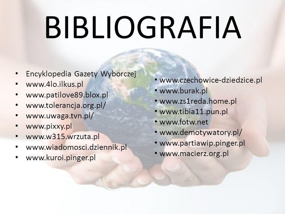 BIBLIOGRAFIA Encyklopedia Gazety Wyborczej www.4lo.ilkus.pl www.patilove89.blox.pl www.tolerancja.org.pl/ www.uwaga.tvn.pl/ www.pixxy.pl www.w315.wrzu