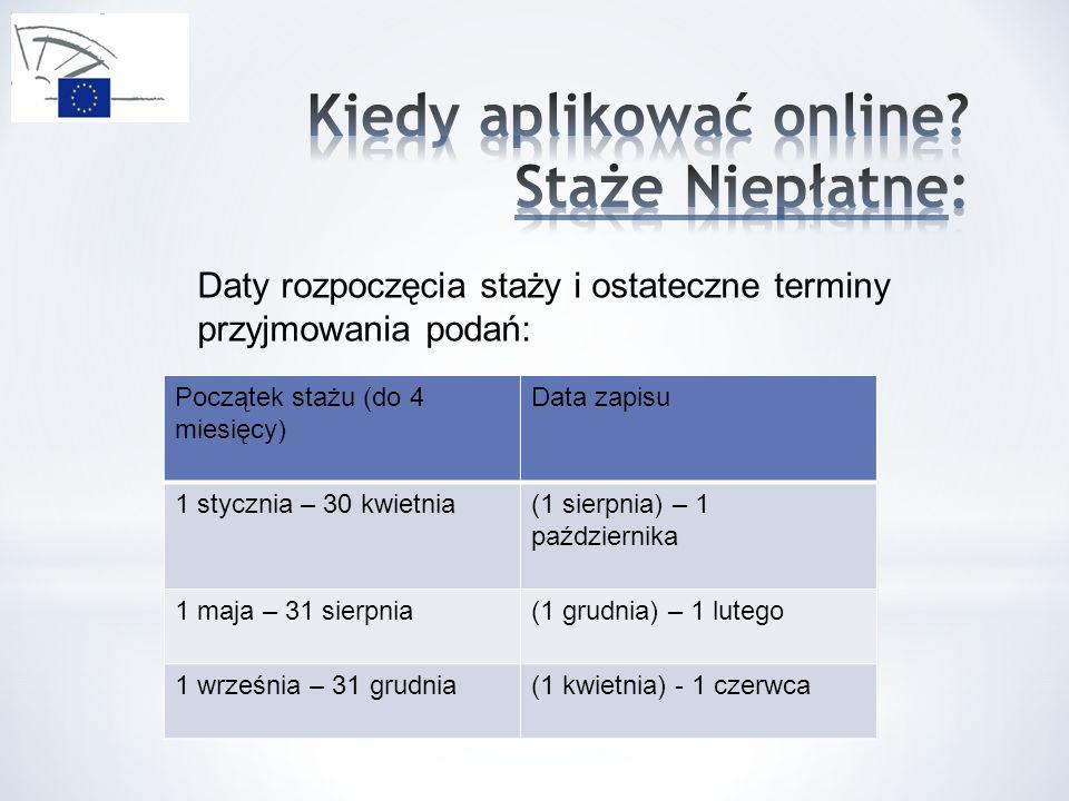 Daty rozpoczęcia staży i ostateczne terminy przyjmowania podań: Początek stażu (do 4 miesięcy) Data zapisu 1 stycznia – 30 kwietnia(1 sierpnia) – 1 pa