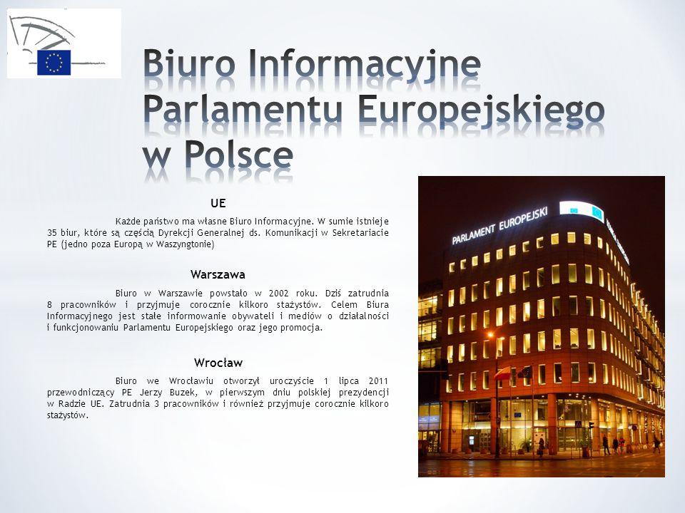 UE Każde państwo ma własne Biuro Informacyjne. W sumie istnieje 35 biur, które są częścią Dyrekcji Generalnej ds. Komunikacji w Sekretariacie PE (jedn