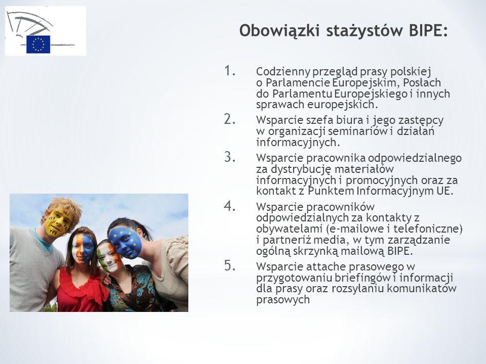 Obowiązki stażystów BIPE: 1. Codzienny przegląd prasy polskiej o Parlamencie Europejskim, Posłach do Parlamentu Europejskiego i innych sprawach europe