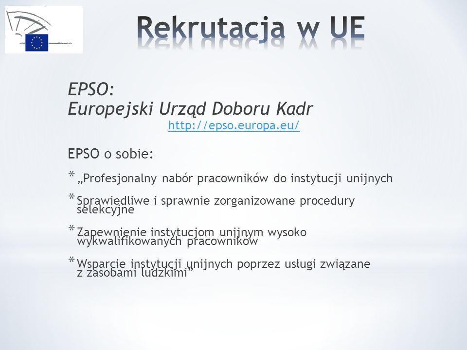 EPSO: Europejski Urząd Doboru Kadr http://epso.europa.eu/ EPSO o sobie: * Profesjonalny nabór pracowników do instytucji unijnych * Sprawiedliwe i sprawnie zorganizowane procedury selekcyjne * Zapewnienie instytucjom unijnym wysoko wykwalifikowanych pracowników * Wsparcie instytucji unijnych poprzez usługi związane z zasobami ludzkimi