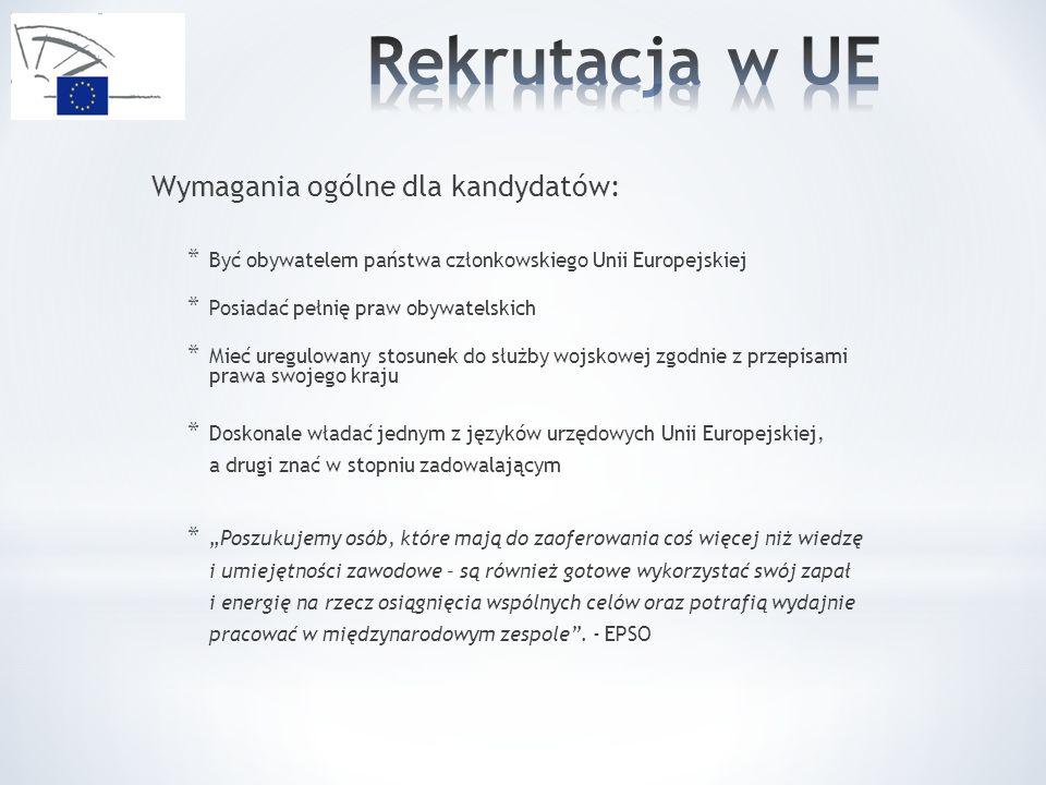 Wymagania ogólne dla kandydatów: * Być obywatelem państwa członkowskiego Unii Europejskiej * Posiadać pełnię praw obywatelskich * Mieć uregulowany stosunek do służby wojskowej zgodnie z przepisami prawa swojego kraju * Doskonale władać jednym z języków urzędowych Unii Europejskiej, a drugi znać w stopniu zadowalającym * Poszukujemy osób, które mają do zaoferowania coś więcej niż wiedzę i umiejętności zawodowe – są również gotowe wykorzystać swój zapał i energię na rzecz osiągnięcia wspólnych celów oraz potrafią wydajnie pracować w międzynarodowym zespole.