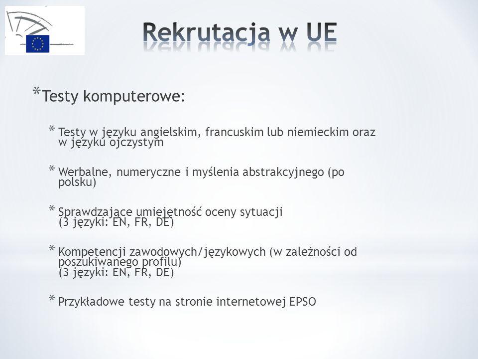 * Testy komputerowe: * Testy w języku angielskim, francuskim lub niemieckim oraz w języku ojczystym * Werbalne, numeryczne i myślenia abstrakcyjnego (po polsku) * Sprawdzające umiejętność oceny sytuacji (3 języki: EN, FR, DE) * Kompetencji zawodowych/językowych (w zależności od poszukiwanego profilu) (3 języki: EN, FR, DE) * Przykładowe testy na stronie internetowej EPSO