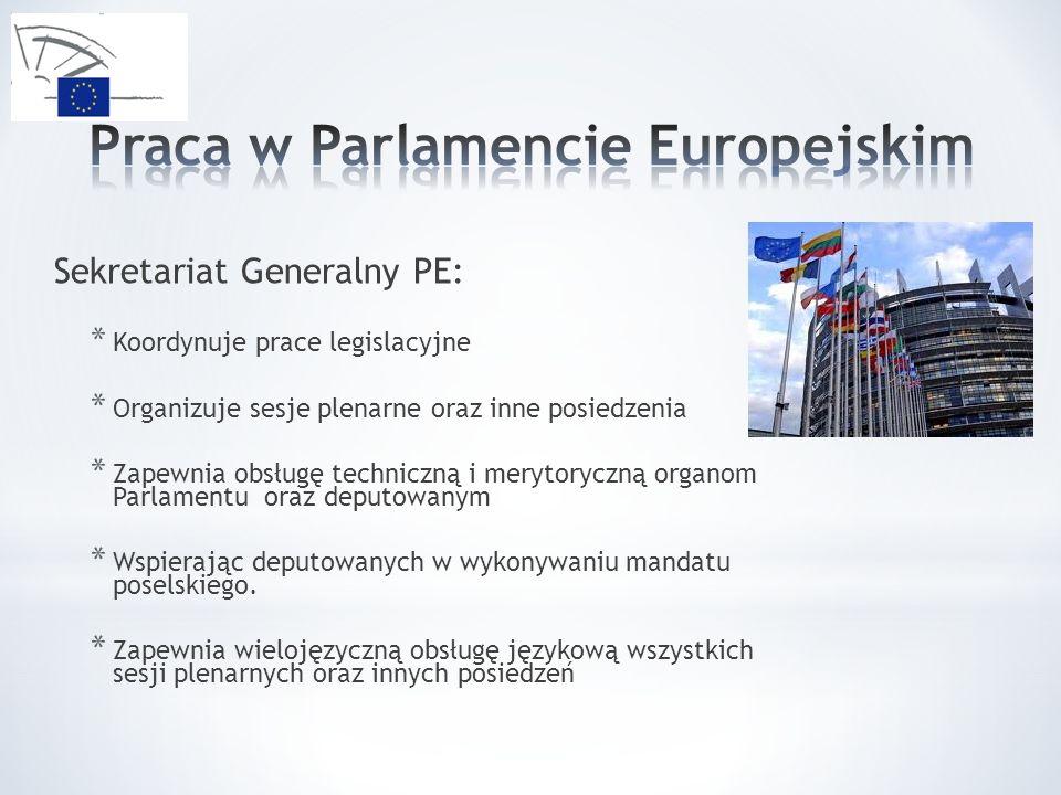 Sekretariat Generalny PE: * Koordynuje prace legislacyjne * Organizuje sesje plenarne oraz inne posiedzenia * Zapewnia obsługę techniczną i merytoryczną organom Parlamentu oraz deputowanym * Wspierając deputowanych w wykonywaniu mandatu poselskiego.