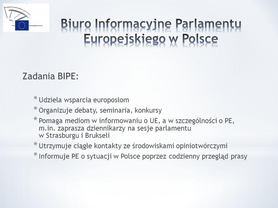 Zadania BIPE: * Udziela wsparcia europosłom * Organizuje debaty, seminaria, konkursy * Pomaga mediom w informowaniu o UE, a w szczególności o PE, m.in.