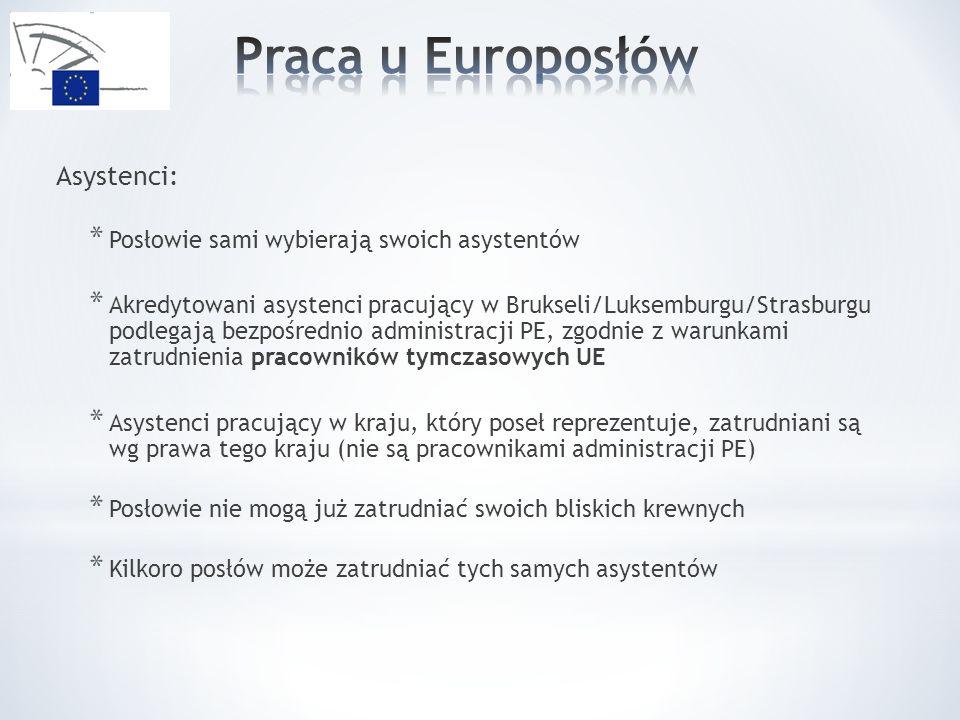 Asystenci: * Posłowie sami wybierają swoich asystentów * Akredytowani asystenci pracujący w Brukseli/Luksemburgu/Strasburgu podlegają bezpośrednio administracji PE, zgodnie z warunkami zatrudnienia pracowników tymczasowych UE * Asystenci pracujący w kraju, który poseł reprezentuje, zatrudniani są wg prawa tego kraju (nie są pracownikami administracji PE) * Posłowie nie mogą już zatrudniać swoich bliskich krewnych * Kilkoro posłów może zatrudniać tych samych asystentów