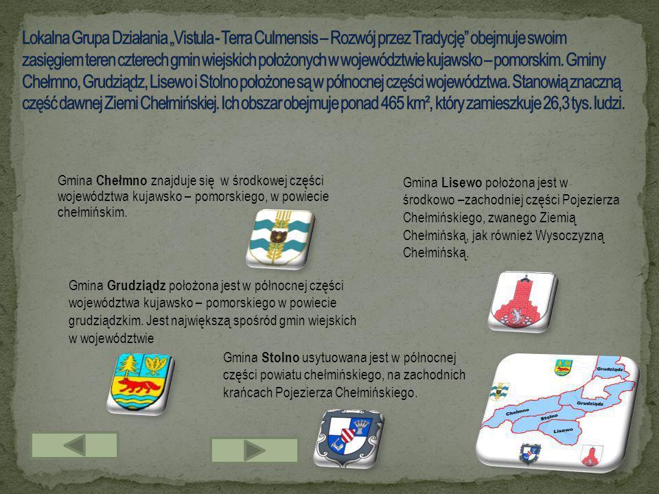 Gmina Chełmno znajduje się w środkowej części województwa kujawsko – pomorskiego, w powiecie chełmińskim. Gmina Grudziądz położona jest w północnej cz