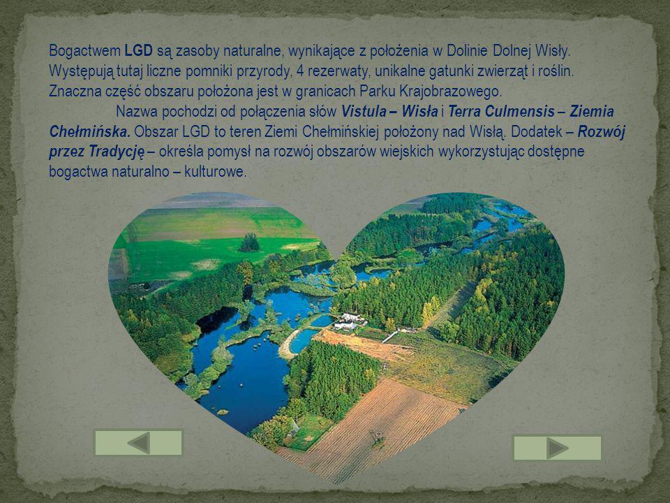 Bogactwem LGD są zasoby naturalne, wynikające z położenia w Dolinie Dolnej Wisły. Występują tutaj liczne pomniki przyrody, 4 rezerwaty, unikalne gatun