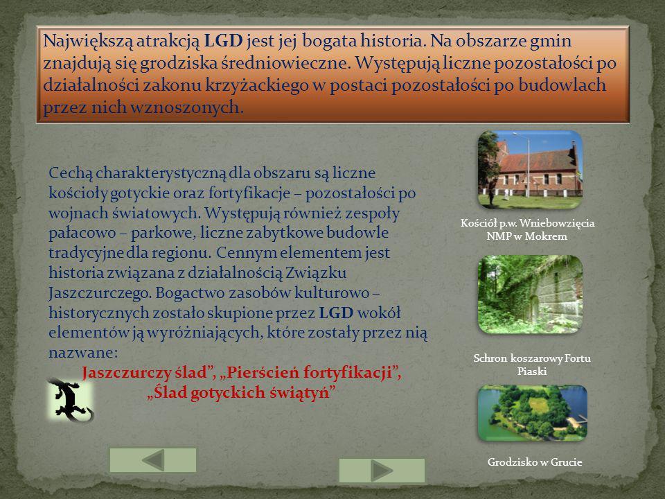 Największą atrakcją LGD jest jej bogata historia. Na obszarze gmin znajdują się grodziska średniowieczne. Występują liczne pozostałości po działalnośc
