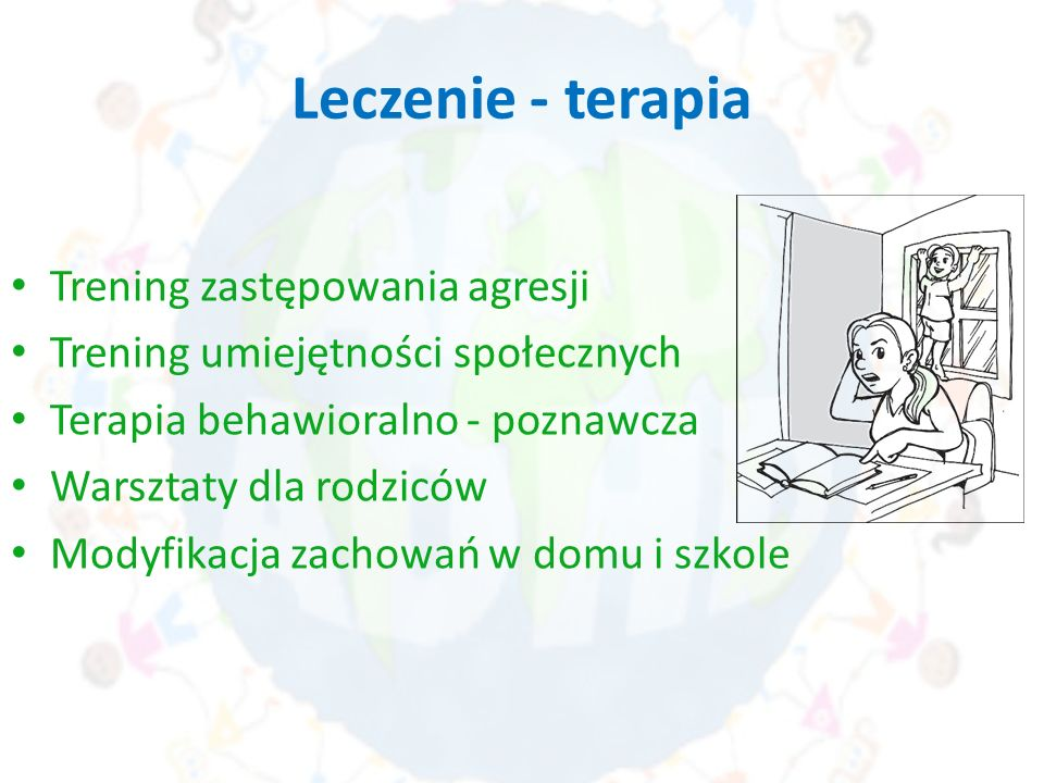 Leczenie - terapia Trening zastępowania agresji Trening umiejętności społecznych Terapia behawioralno - poznawcza Warsztaty dla rodziców Modyfikacja z