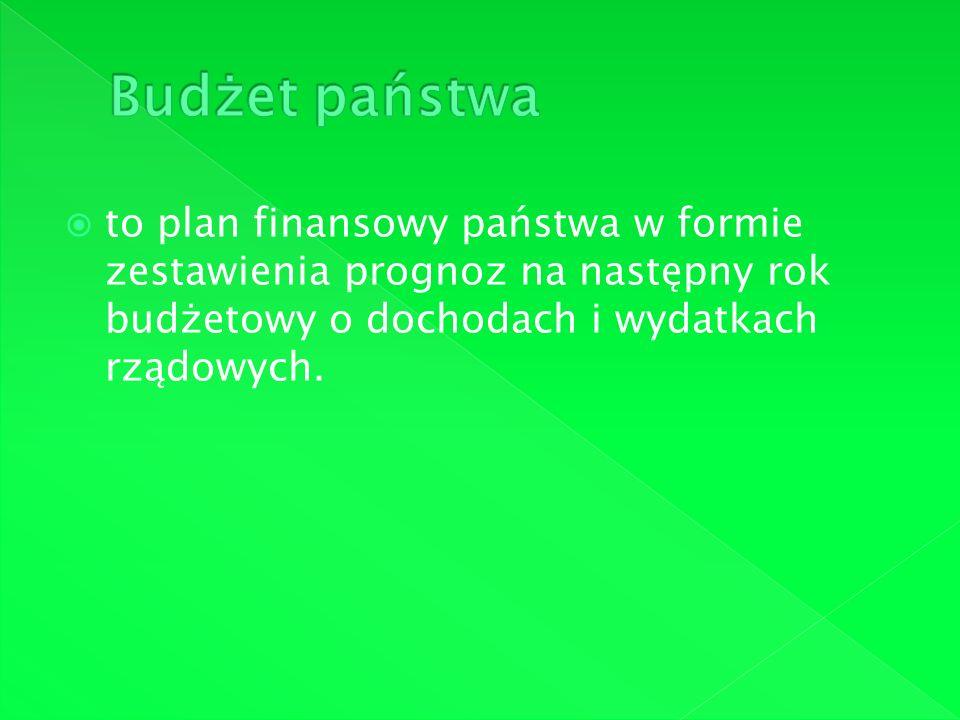 to plan finansowy państwa w formie zestawienia prognoz na następny rok budżetowy o dochodach i wydatkach rządowych.