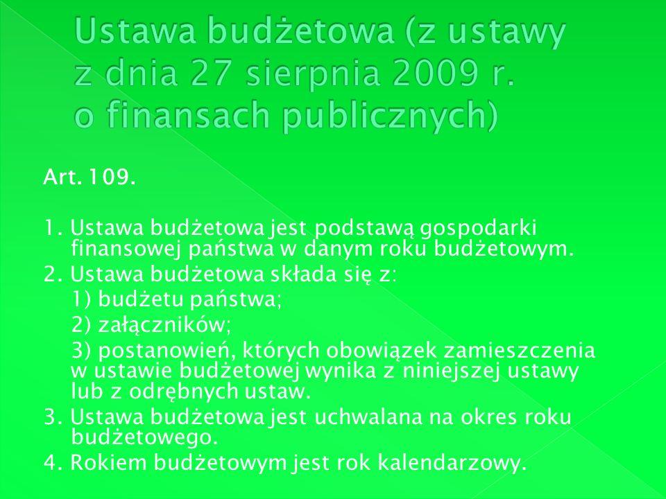Art. 109. 1. Ustawa budżetowa jest podstawą gospodarki finansowej państwa w danym roku budżetowym. 2. Ustawa budżetowa składa się z: 1) budżetu państw