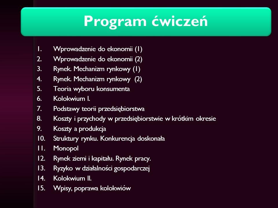 Literatura Podstawowa: Begg, D., Fischer, S., Dornbuch, R.: Mikroekonomia, PWE, Warszawa 2007.