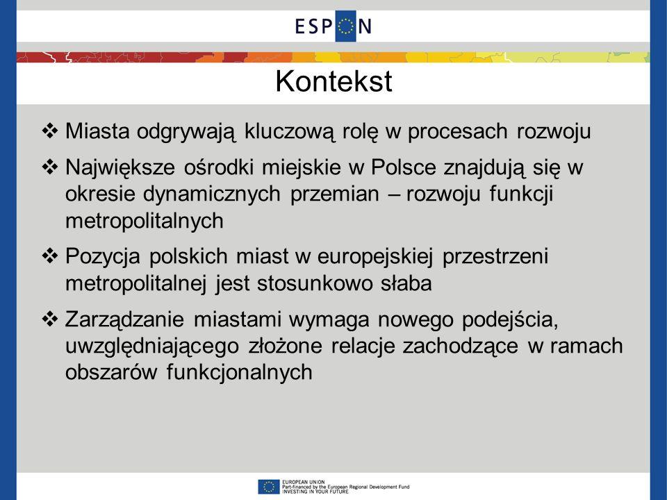 Kontekst Miasta odgrywają kluczową rolę w procesach rozwoju Największe ośrodki miejskie w Polsce znajdują się w okresie dynamicznych przemian – rozwoj