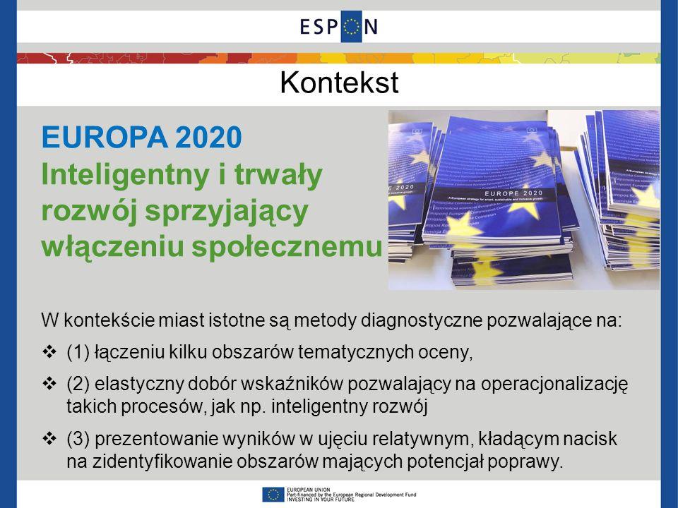 Kontekst EUROPA 2020 Inteligentny i trwały rozwój sprzyjający włączeniu społecznemu W kontekście miast istotne są metody diagnostyczne pozwalające na: