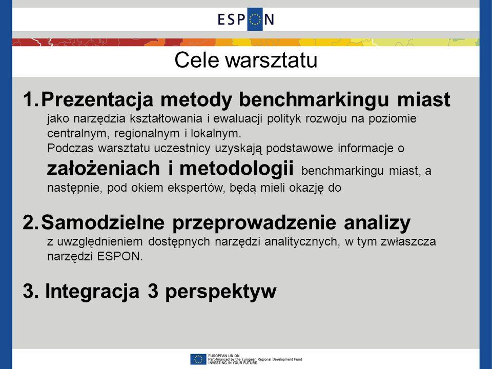 Cele warsztatu 1.Prezentacja metody benchmarkingu miast jako narzędzia kształtowania i ewaluacji polityk rozwoju na poziomie centralnym, regionalnym i