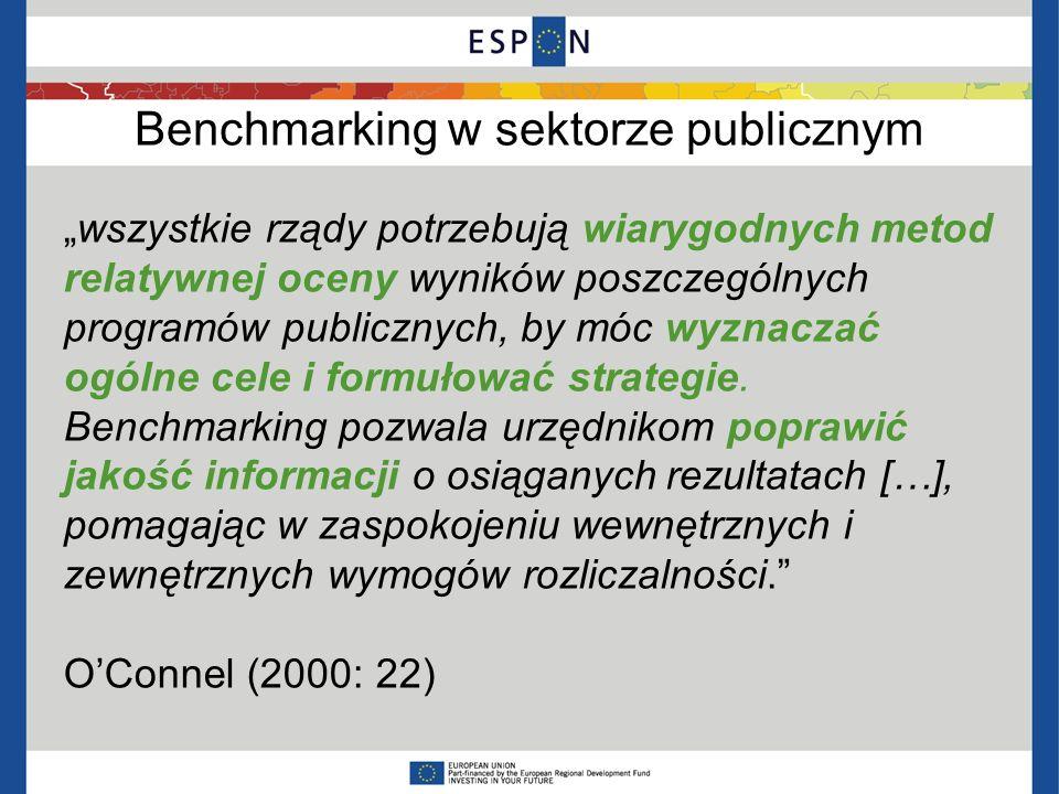 Benchmarking w sektorze publicznym wszystkie rządy potrzebują wiarygodnych metod relatywnej oceny wyników poszczególnych programów publicznych, by móc