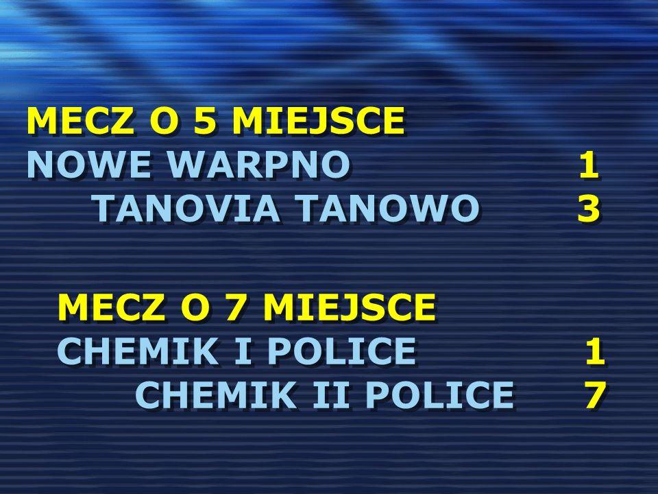 MECZ O 5 MIEJSCE NOWE WARPNO 1 TANOVIA TANOWO 3 MECZ O 7 MIEJSCE CHEMIK I POLICE1 CHEMIK II POLICE7 MECZ O 7 MIEJSCE CHEMIK I POLICE1 CHEMIK II POLICE