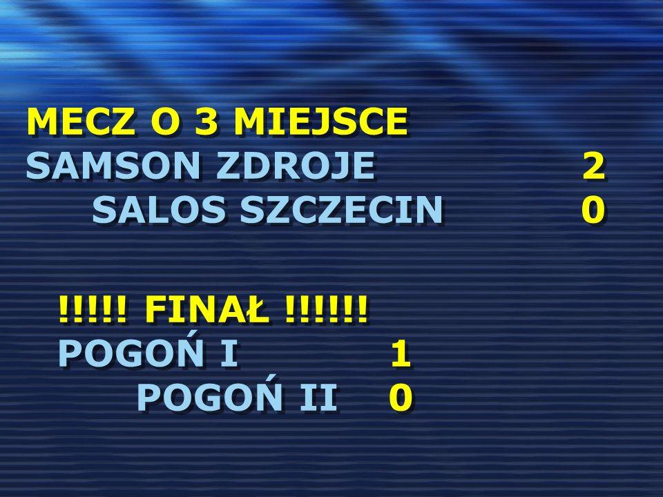 MECZ O 3 MIEJSCE SAMSON ZDROJE 2 SALOS SZCZECIN 0 !!!!! FINAŁ !!!!!! POGOŃ I1 POGOŃ II0 !!!!! FINAŁ !!!!!! POGOŃ I1 POGOŃ II0